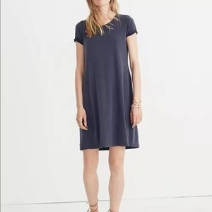 Madewell Sandwashed Swingy Tee Dress Blue Short Sl